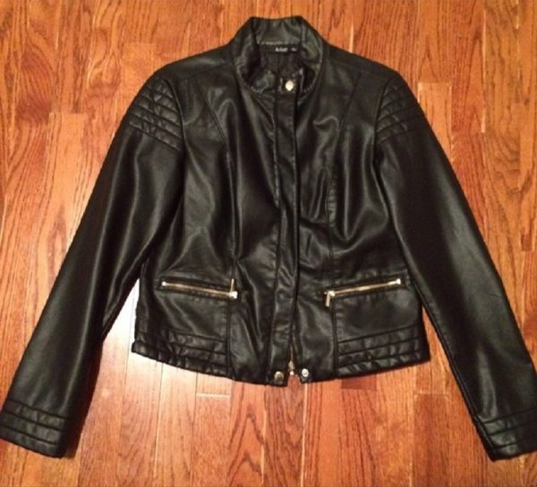 A.N.A Womens Black Faux Leather Jacket