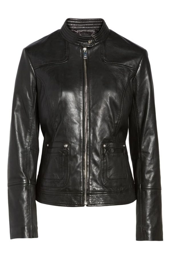 Bernardo Moto Black Leather Jackets