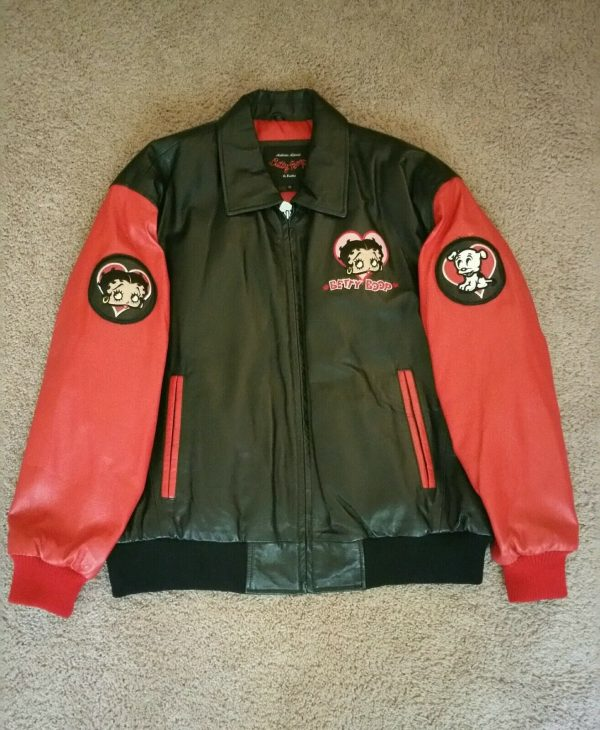 Betty Boop Black And Red Leather Jacket