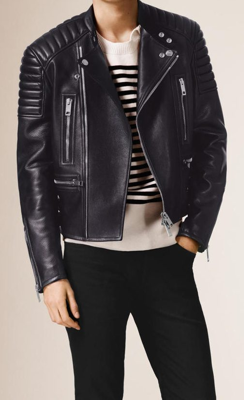 Burberry Navy Black Biker Leather Jacket