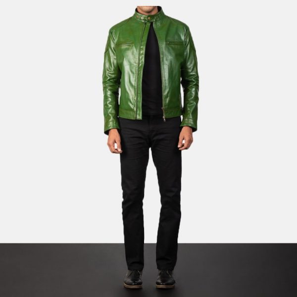 Gatsby Green Leather Biker Jacket