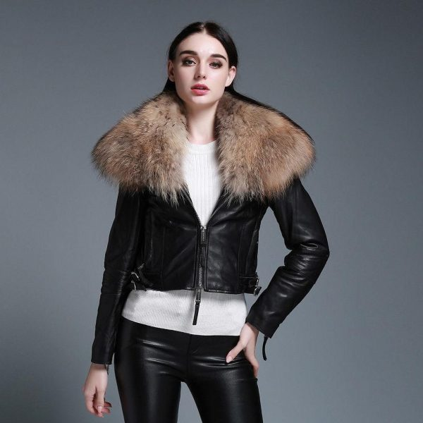 Genuine Sheep Leather Jacket with Removable Real Raccoon Fur Collar Womens Coats