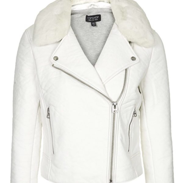 Get Womens White Leather Jacket With Fur Collar