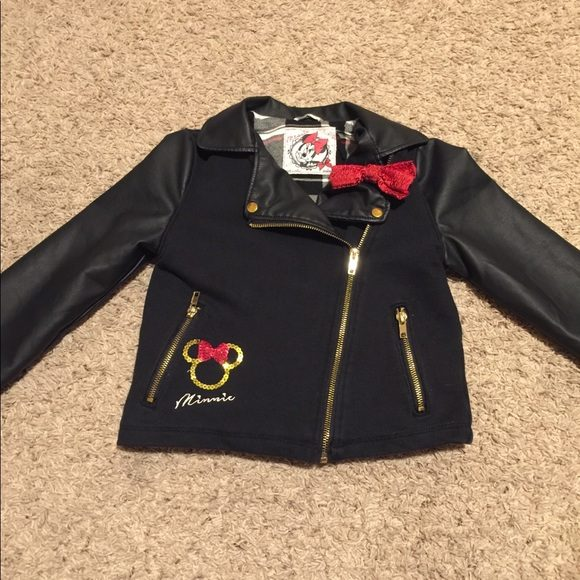 Girls Minnie Mouse Faux Leather Jacket