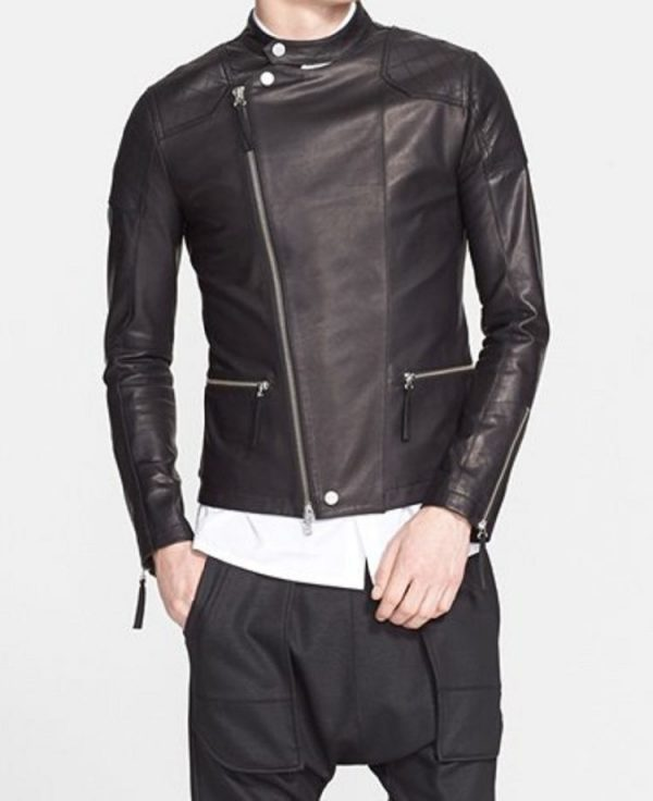 Helmut Lang Black Biker Leather Jacket