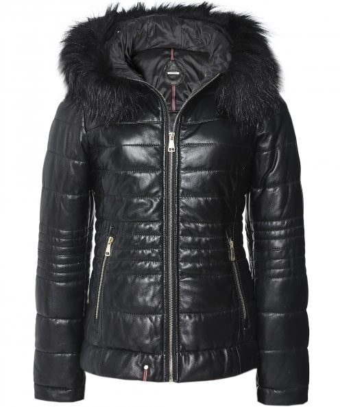 Jella Faux Fur Trim Quilted Leather Jacket