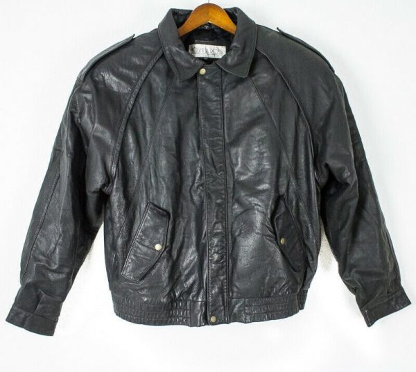 Joshua Ross Black Genuine Leather Bomber Jacket