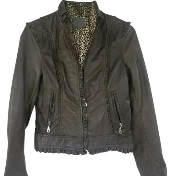 Kenna T Gray Ruffle Edge Leather Jacket
