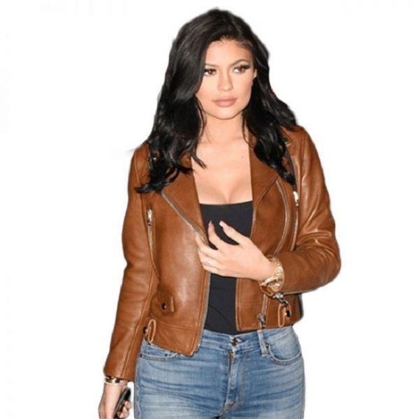 Kylie Jenners Brown Leather Jacket