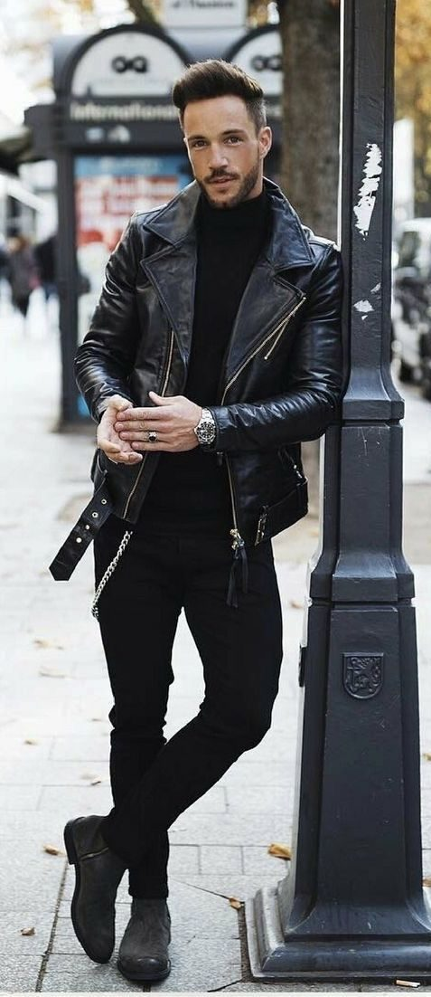 Leathers Jacket And Turtleneck