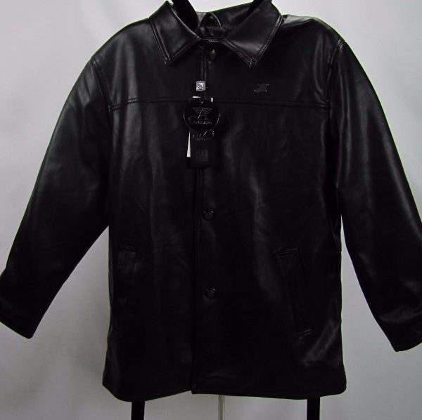 Mens A G MILANO Black Leather Jacket