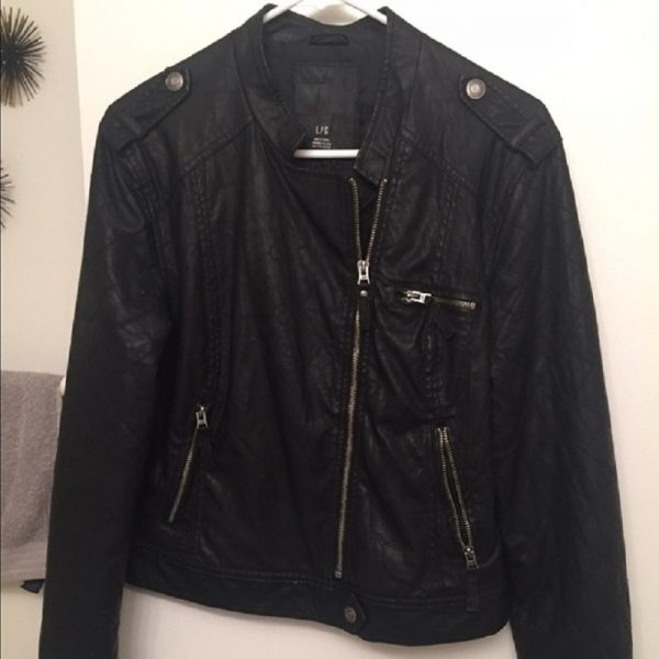 Mens Aeropostale Black Leather Jacket