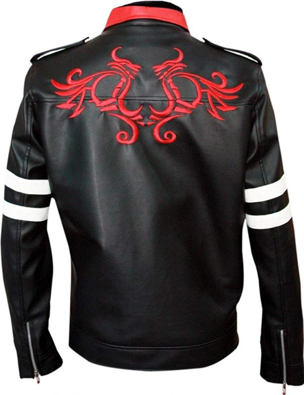 Mens Alex Dragon Embroidered Black Biker Leather Jackets