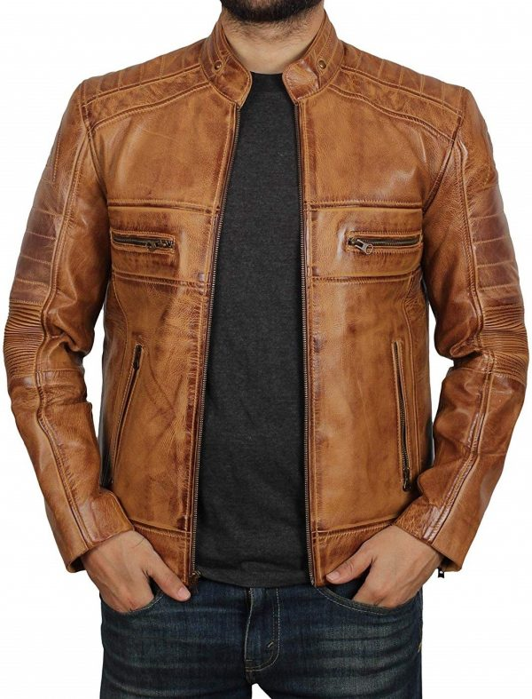 Men's Brown Motorcycle Leather Jacket