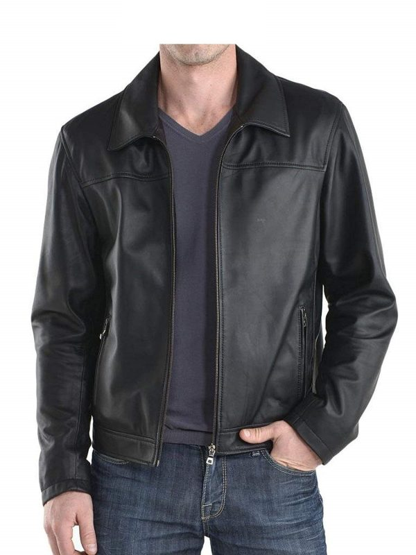 Mens Classic Genuine Cowhide Leather Jacket