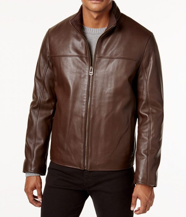 Mens Cole Haan Brown Leather Jacket