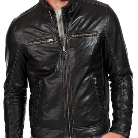 Men's Fashion Genuine Racer Leather Jacket