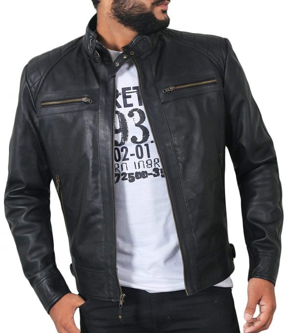 Mens Genuine Biker Lambskin Leather Jacket