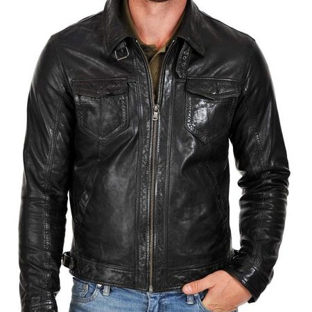 Mens Genuine Black Cowhide Leather Jacket