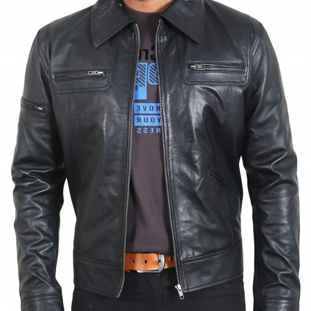 Mens Genuine Black Lambskin Leather Jacket