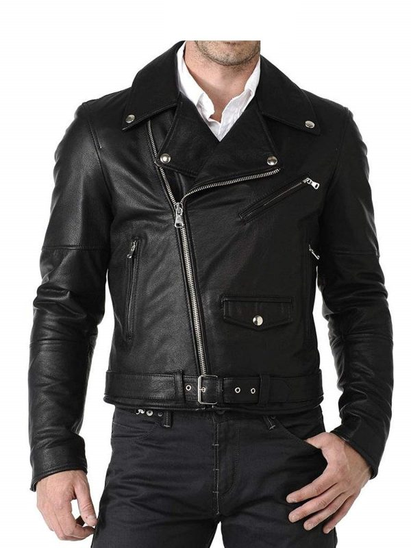 Mens Genuine Cowhide Double Rider Leather Jacket