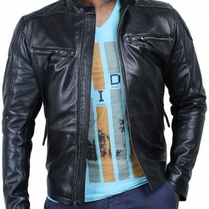 Mens Genuine Lambskin Biker Leather Jacket