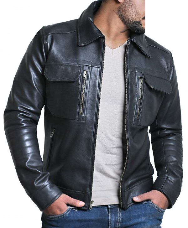 Mens Genuine Lambskin Black Leather Jacket