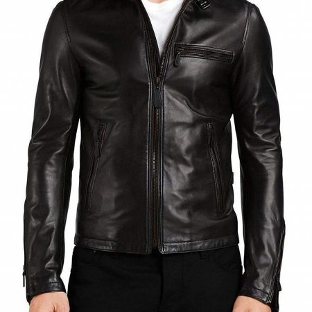 Mens Genuine Lambskin Racer Leather Jacket