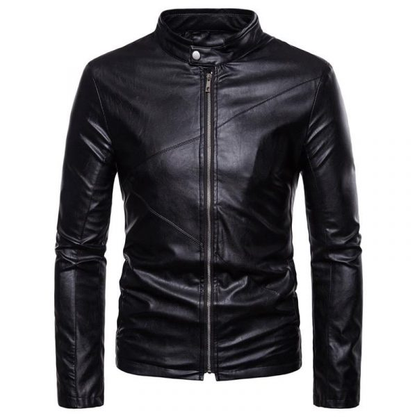 Mens Hipster Motorcycle Leather Jacket 2018 Winter Windproof Leather Jacket