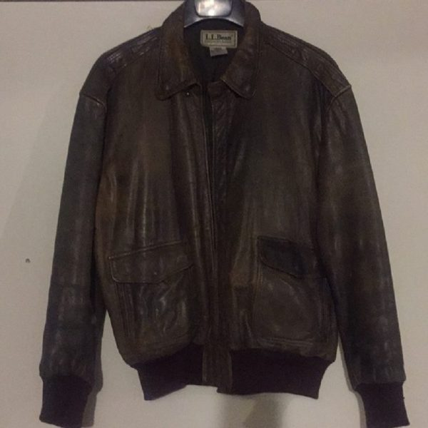 Men's LL Bean Leather Bomber Jacket