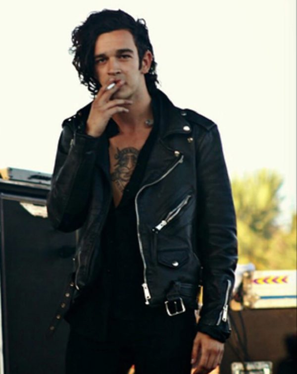 Mens Matty Healy Black Leather Jacket