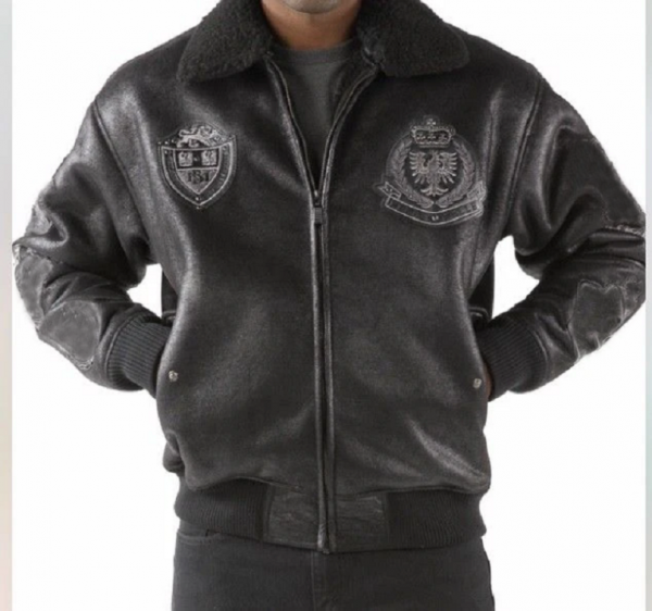 Mens Pelle Pelle Faux Shearling Coat Of Arms Jacket