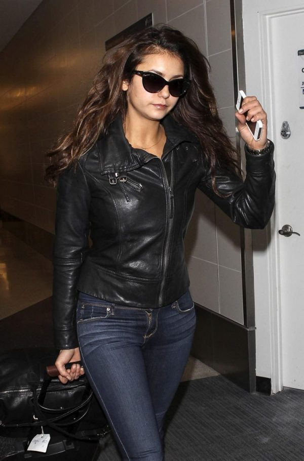 Nina Dobrev Black Leather Jacket