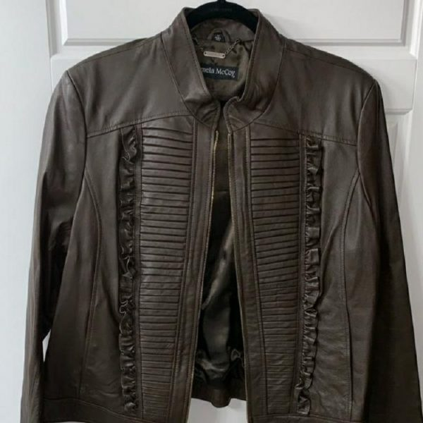Pamela Mccoy Brown Leather Jacket