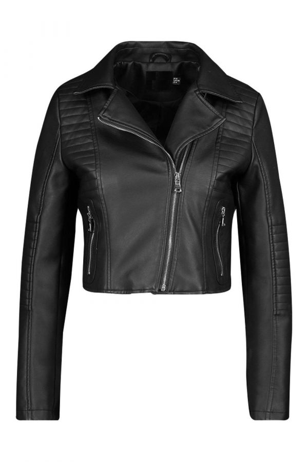 Petite Leather Look Quilted Biker Jackets