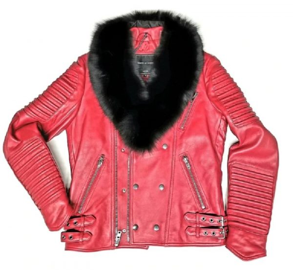Ribbed Arm Red Motorcycle Jacket With Fur Collar