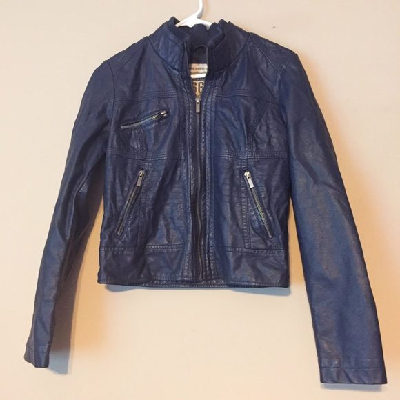 Route 66 Blue Zip Up Leather Jacket