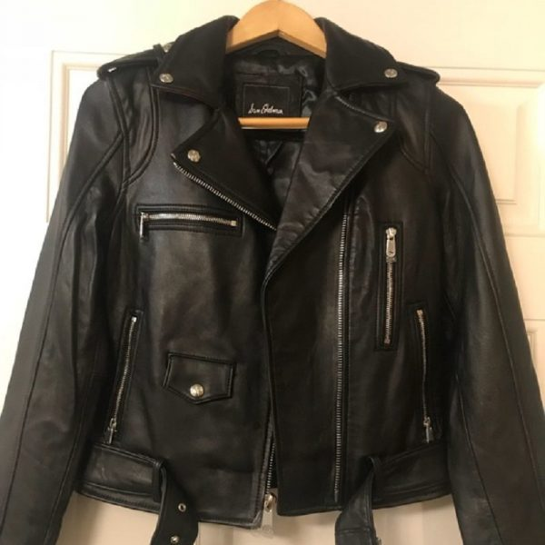 Sam Edelman Contrast Trims Moto Leather Jacket
