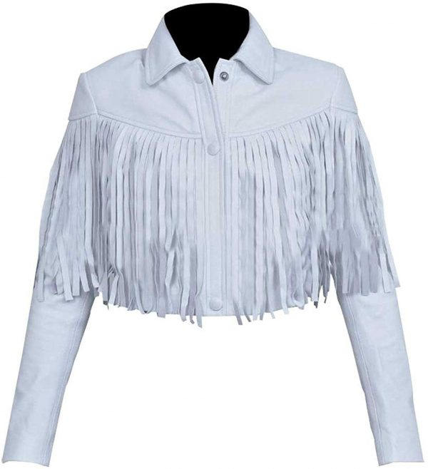 Sloane Peterson Ferris Bueller's Day Off White Fringe Leather Jacket