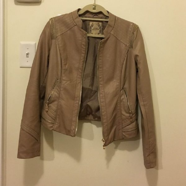 Tan Downtown Coalition Faux Leather Jacket