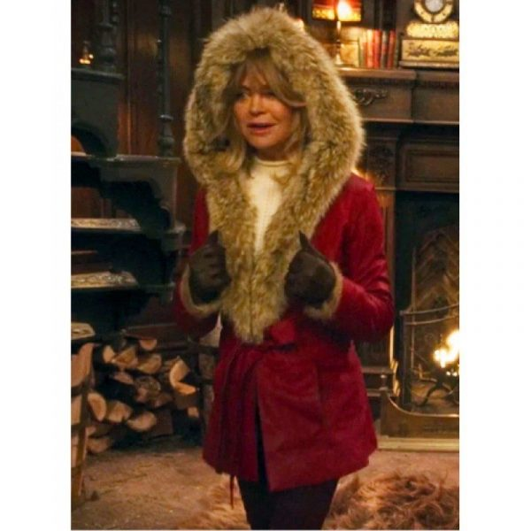 The Christmas Chronicles Goldie Hawn Hooded Mrs.Claus Leather Coat