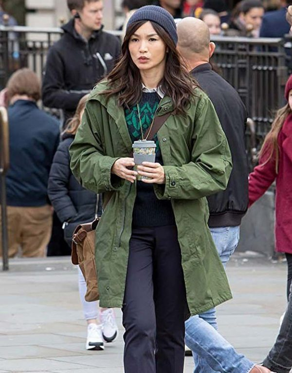 The Eternals Gemma Chan Green Cotton Trench Coat