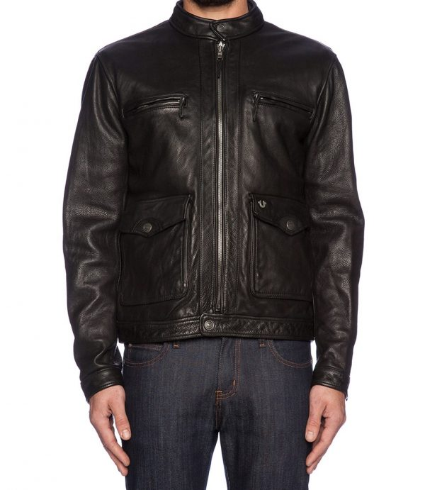 True Religion Solid Racer Leather Jacket