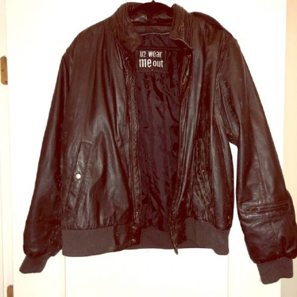U2 Wear Me Out Vintage Bomber Leather Jacket