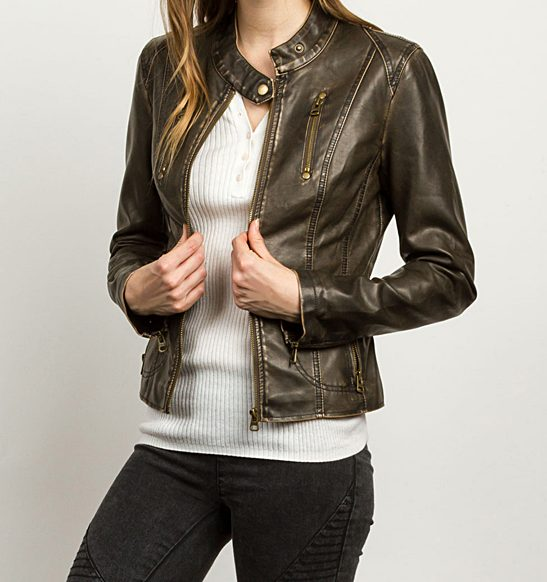 Wash Brown Zip-accent Moto Tcec Leather Jacket