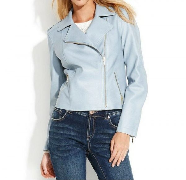 Womens Baby Blue Leather Jacket