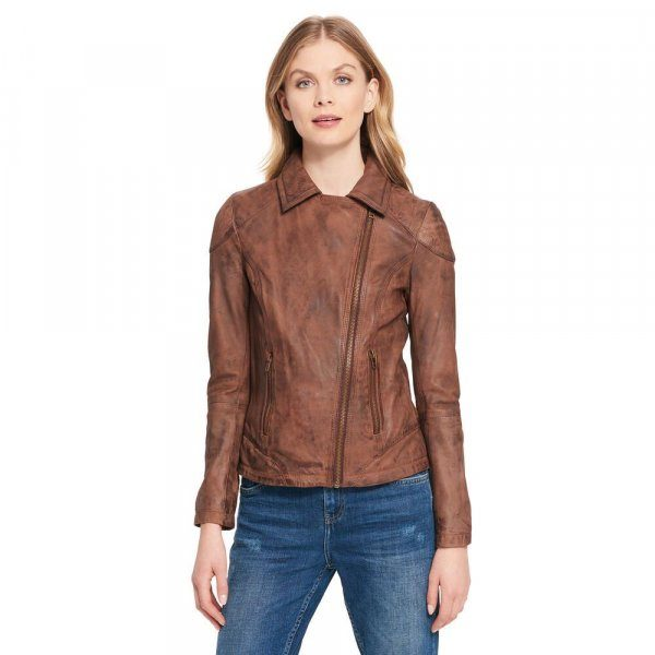 Womens Browns Asymmetrical Distress Leather Jacket