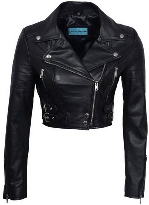 Womens Chic Black Cropped Top Leather Biker Jackets