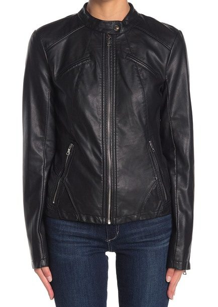 Womens Guess Black Faux Leathers Jacket