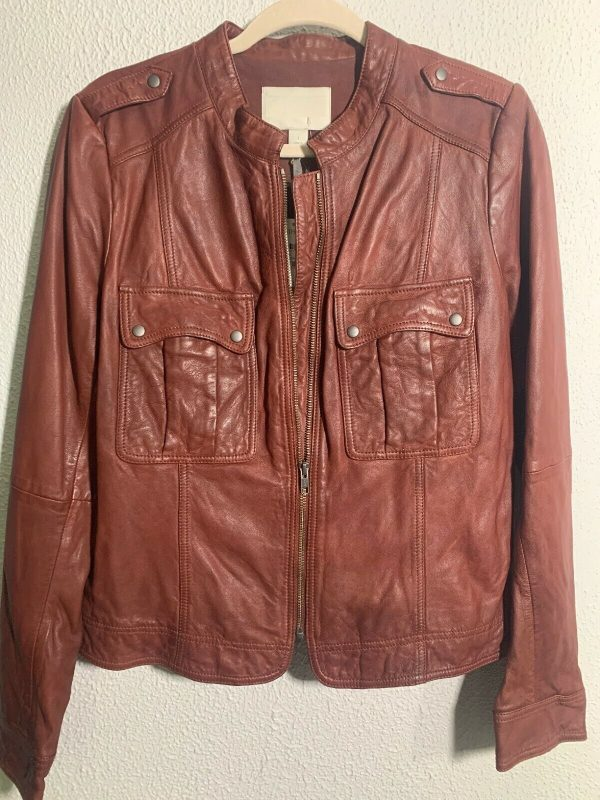Womens Hinge Patchs Whiskey Brown Leather Jacket